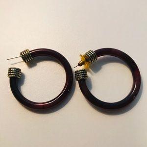 Vintage Hoop Earrings in Dark Burgundy Brown